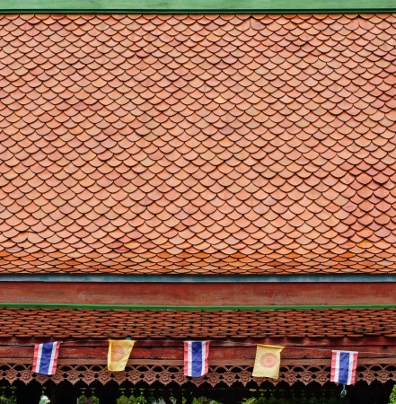 Brown roof tiles of Thai temple
