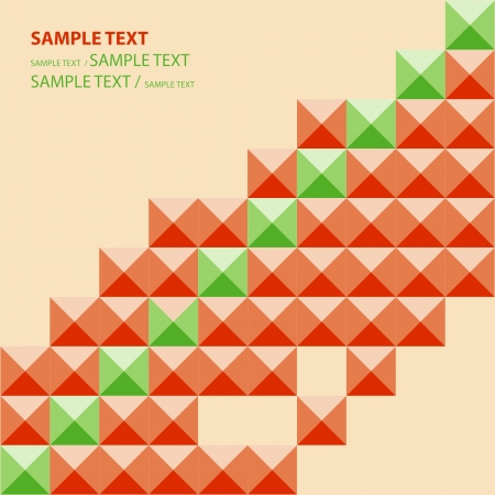 Abstract Pattern - Triangle and Square pattern in green and orange colors Illustration