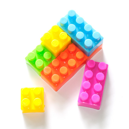 plastic building blocks isolated on white background Stock Photo - 23109275