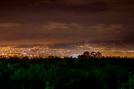yellow shine: Shot of San Jose, Costa Rica at night