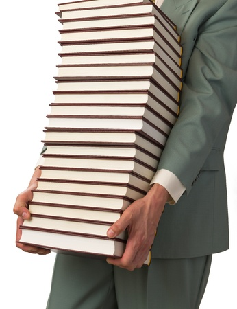 Man carries several books, white background. Stock Photo - 11899901