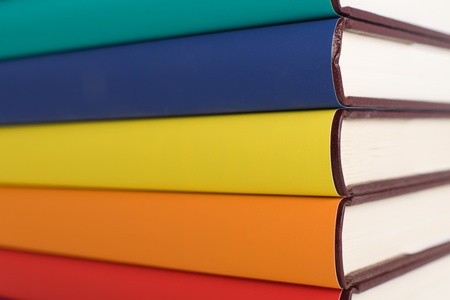 Colorful books on pile. Stock Photo