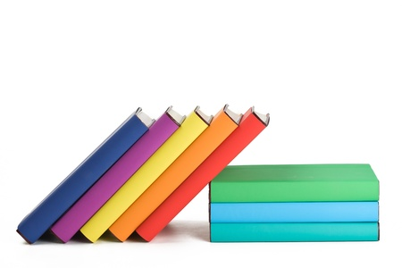 hard cover: Colorful books and white background. Stock Photo