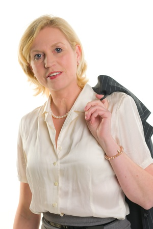 Businesswoman with jacket, white isolated background. Stock Photo