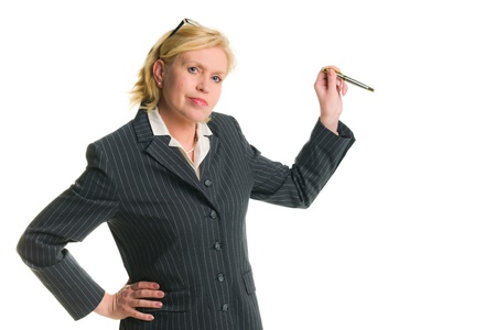 Caucasian businesswoman demonstrate somenthing, white isolated background. photo