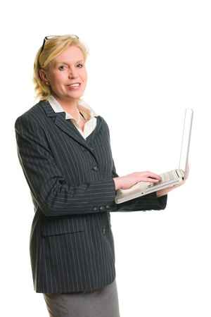 demonstrate: Caucasian businesswoman demonstrate somenthing with laptop, white isolated background.