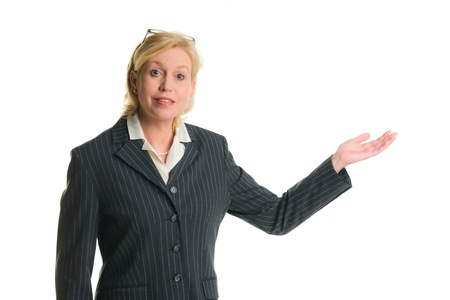 demonstrate: Caucasian businesswoman demonstrate somenthing, white isolated background.