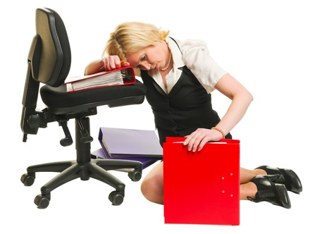 Woman have a burnout, office situation, white isolated background.