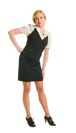 Woman posing, white isolated background. photo