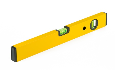 Yellow spirit level and white isolated background  photo