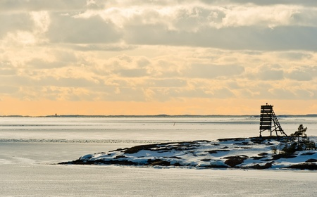 as far as the eye can see: Baltic Sea in March, ice and snow as far as eye can see. Stock Photo