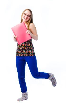 feeling positive: Una hermosa joven que tiene el movimiento y sentimiento positivo Foto de archivo