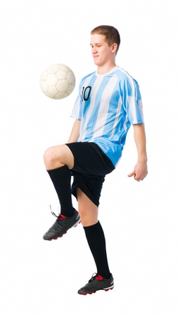 Soccer player control a ball with his thigh