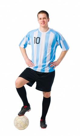 Soccer player standing with a ball, player in full image