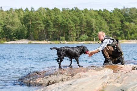 fetch: The Labrador retriever fetch a dummy for its owner Stock Photo