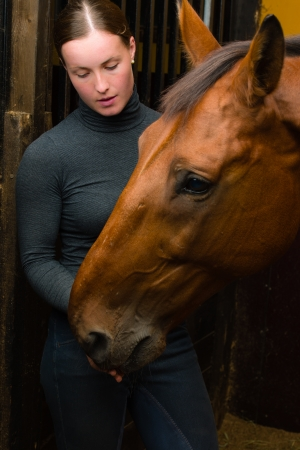 Woman give a tidbit to horse, vertical format Stock Photo - 15044310