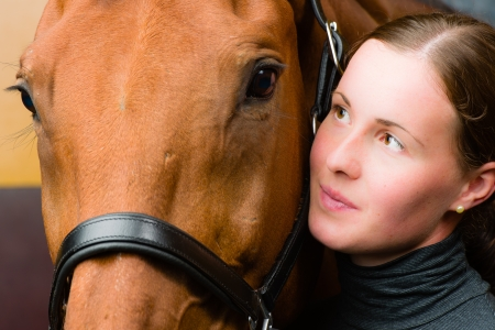 horse collar: Woman and horse together, woman looks toward horse