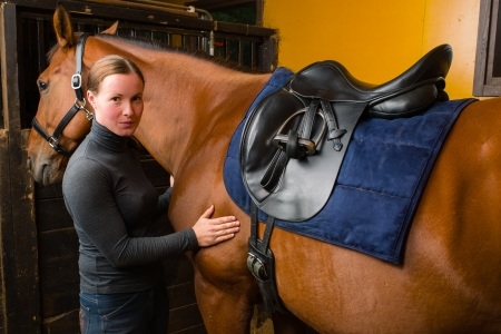 Woman saddle a horse in the stall Stock Photo - 15044319