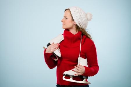 wooly: Beautiful skater wearing a white wooly cap, horizon format