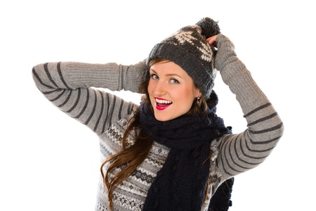wooly: Beautiful young woman wearing wooly outfit, white background and horizon format