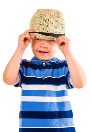 the showman: Child play with a summer hat, white background Stock Photo