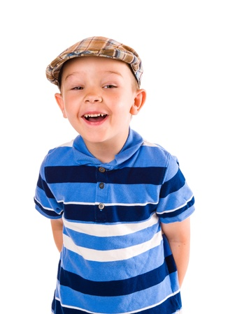 cloth cap: Child play with a cloth cap, white background