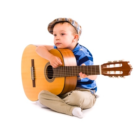 the showman: Boy wondering whats to next song, white background