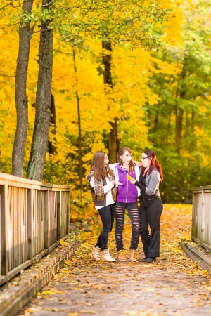 kindred: Three sisters walking on bridge and they have a fun together on autumnal park