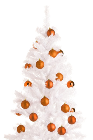 White Christmas tree and orange balls, white background