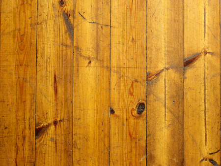 knotty: Old knotty wooden plank floor and scratches, varnished surface Stock Photo