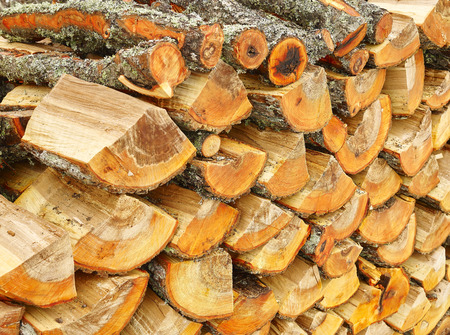 drying: Firewood stack, logs are drying up outdoors Stock Photo