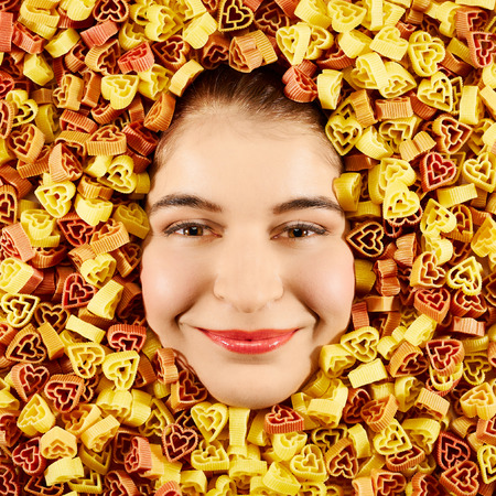 countenance: Beautiful woman expression face with tri-color pasta frame