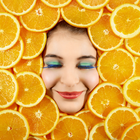 countenance: Beautiful woman expression face with orange slice frame