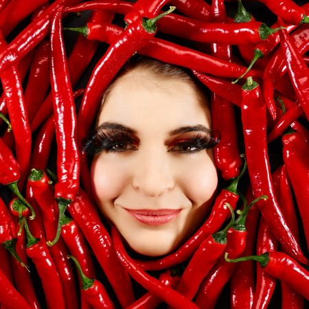 countenance: Beautiful woman expression face with red chili pepper frame
