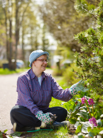 weeding: Woman weeding in the garden and she use protective gloves Stock Photo