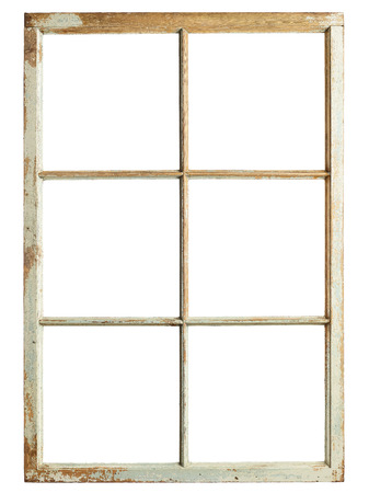 Old window frame, six square glazing, isolated image