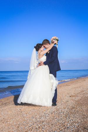 walk along the beach on the wedding day