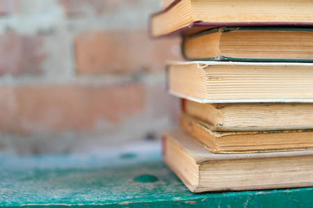 dirty old worn books,  background Stock Photo
