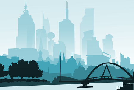 illustration.Outline City Skyscrapers. Business and tourism concept with . Imagens