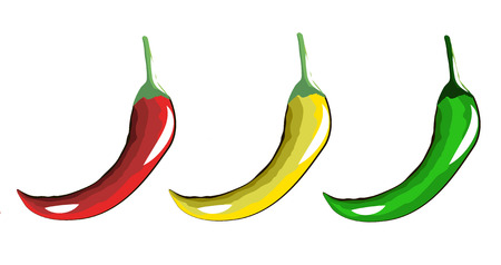 pungency: burning red yellow and green peppers Illustration