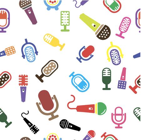 Conjunto de etiquetas relacionadas con karaoke, insignias y elementos de diseño. Emblemas del club de karaoke. Micrófonos aislados sobre fondo blanco. Ilustración vectorial