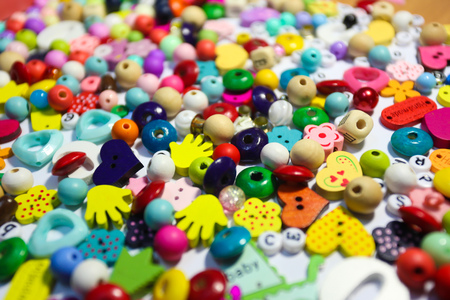 seed beads: Beads Background. Retro Top View Colorful Bead Heap. child background.