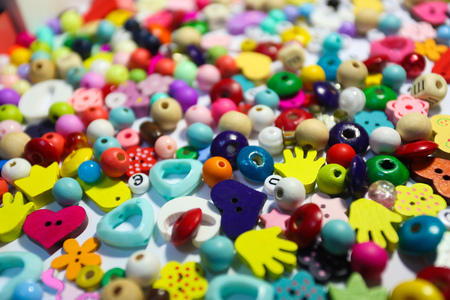 Beads Background. Retro Top View Colorful Bead Heap. child background.