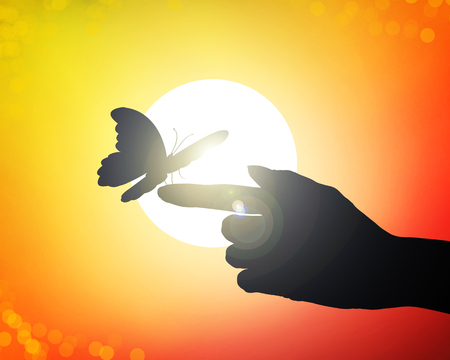 hands reach to the sun, releasing butterflies