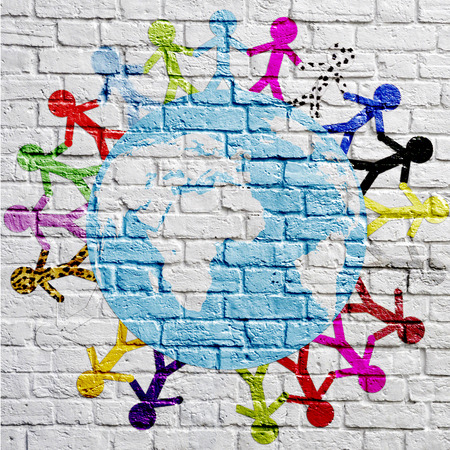 graffiti kids around the earth on a brick wall