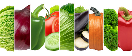 Collage of fresh vegetables . Healthy food concept