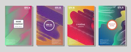 Płynne kształty kolorów dla tła kompozycji. Modne abstrakcyjne okładki. Futurystyczne plakaty projektowe. Ilustracje wektorowe