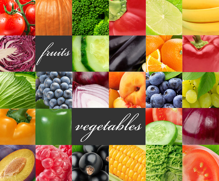 Frutas y verduras de color fresco. Concepto de comida saludable Foto de archivo - 90032992