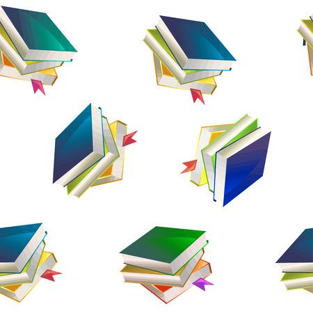 Seamless book pattern background, vector illustration.