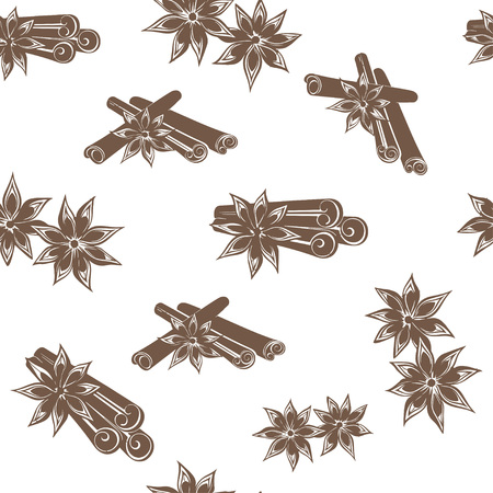 Seamless vector background with cinnamon and vanilla, pattern for design.